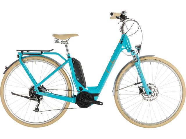 Cube Elly Ride Hybrid 500 Bicicletta elettrica da città Donna Easy Entry blu/turchese